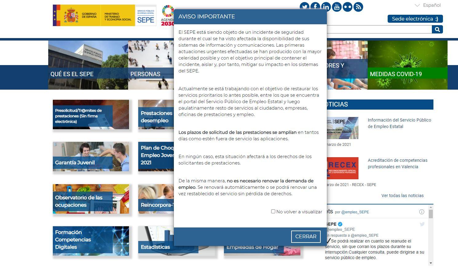 página web del SEPE